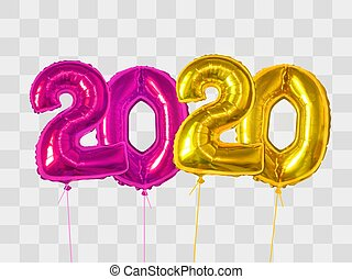 2020 number of purple and gold foiled balloons isolated on transparent background. Happy new year 2020 holiday. Realistic 3d vector illustration