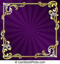 Purple and gold frame - stylish vector frame with metallic...