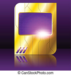 Purple and gold futuristic sign