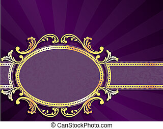 Purple and gold horizontal label - stylish vector label with...