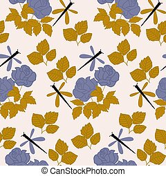 purple and gold roses and butterflies, seamless pattern