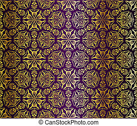 Purple and gold seamless arabesque - Seamless pattern...