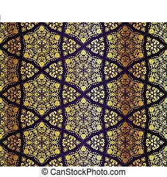 Purple and gold seamless arabesque - Seamless pattern...