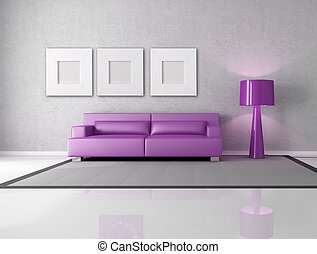 purple and gray living room - minimalist gray and purple...