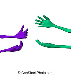 Purple and green 3d hands stall