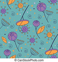 Purple and orange flower vintage seamless pattern on blue background.