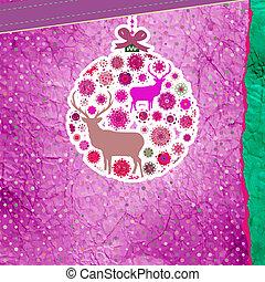 Purple and pink Christmas ball. EPS 8