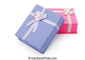 purple and pink gift boxes with clipping path