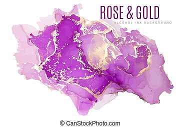 Purple and pink shades watercolor background, ink