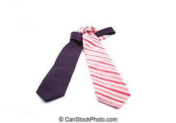 Purple and pink tie on a white background