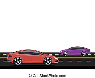 Purple and red cars are driving along the road. Side view. Volumetric drawing without a mesh and a gradient. Isolated on white background. illustration.