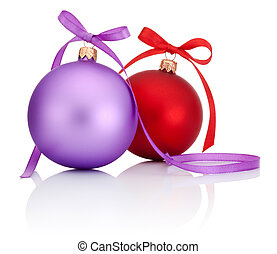 Purple and Red Christmas Ball with ribbon bow Isolated on white background