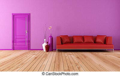 purple and red living room