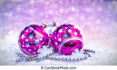 purple and silver christmas balls on snow with glitter bokeh background. Seamless loop. 3D render