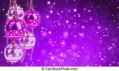 purple and silver christmas balls with glitter bokeh background. Seamless loop. 3D render