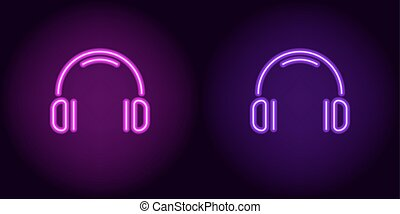 Purple and violet neon headphones