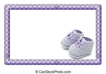 Purple and White Baby Frame for your message or invitation