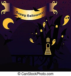 Purple and yellow halloween castle with a text banner