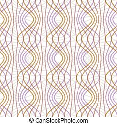 Purple and yellow waves on white background. Seamless vector strip patterns in pastel colors, regular geometric ornament in classic style.
