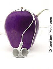 Purple Apple with Earbuds - Colorful purple apple wrapped in...