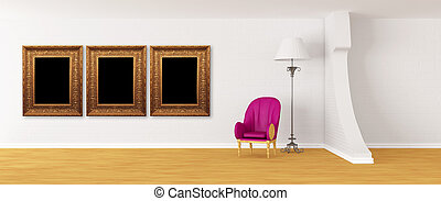Purple armchair with standard lamp and picture frames in...