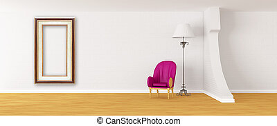 Purple armchair with standard lamp and picture frame in...