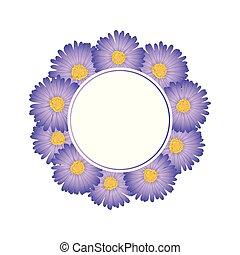 Purple Aster, Daisy Flower Banner Wreath