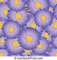 Purple Aster, Daisy Flower Seamless Background