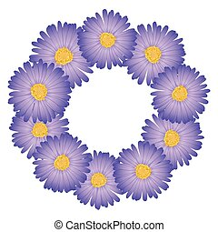 Purple Aster, Daisy Flower Wreath