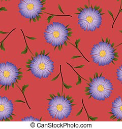 Purple Aster, Daisy on Red Background