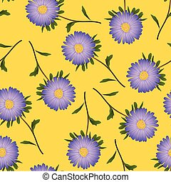Purple Aster, Daisy on Yellow Background