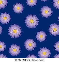 Purple Aster, Daisy Seamless on Indigo Blue Background.
