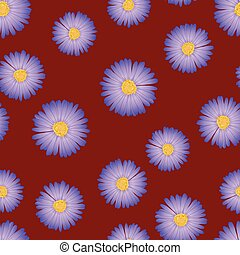 Purple Aster, Daisy Seamless on Red Background