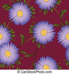 Purple Aster Flower on Violet Red Background. Vector Illustration