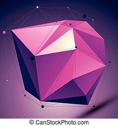 Purple asymmetric 3D abstract object with lines and dots...