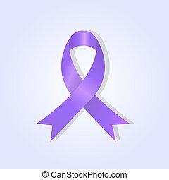 Purple awareness ribbon on purple glow background, stock...