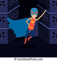 purple background buildings brick facade with superhero man flying with costumes and complete mask