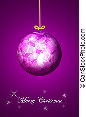 Purple background Christmas ball.