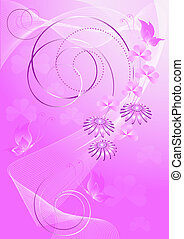 Purple background with flowers and
