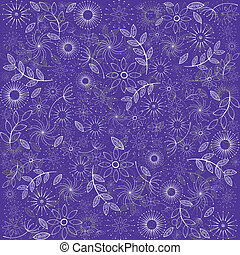 Purple background with flowers and leaves
