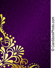 Purple background with gold filigree, vertical - stylish...