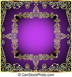 purple background with gold ornament and precious stones -...