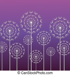 Purple background with white dandelions
