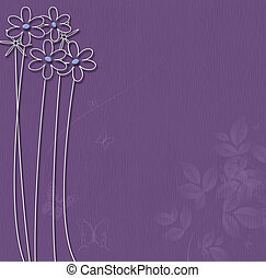 Purple background with white flowers