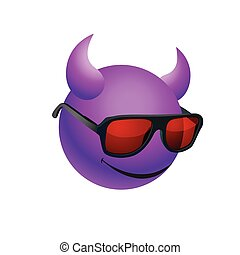 Purple ball with horns wearing sunglasses