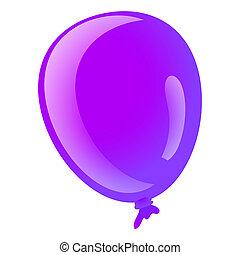 Purple ballon icon, cartoon style