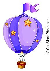 Purple balloon flying on white background