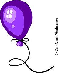 Purple balloon, illustration, vector on white background.