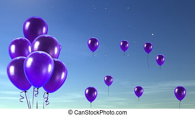 purple balloons up to sky