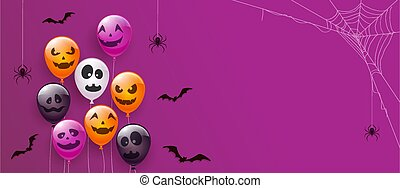 Purple Banner with Scary Balloons and Spiders